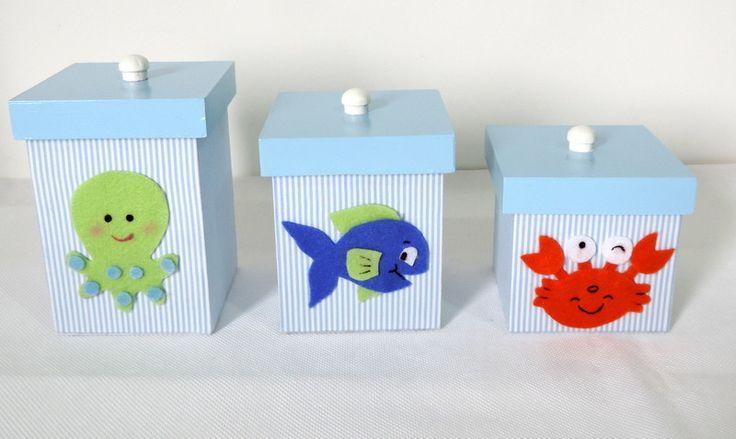 Kit higiene (potes) - fundo do mar | Mamãe Kriativa | Elo7