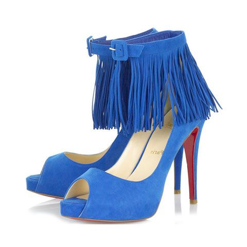 Christian Louboutin Short Tina Fringe Pumps Bright Blue-#184 ...