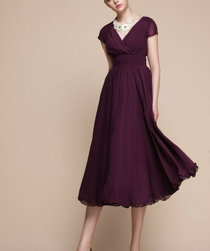 Purple Chiffon Midi Dress V Neck Long Chiffon Dress by DressStory, $124.99
