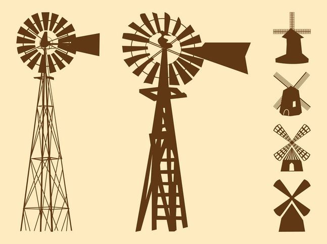 Windmills Silhouettes vector free