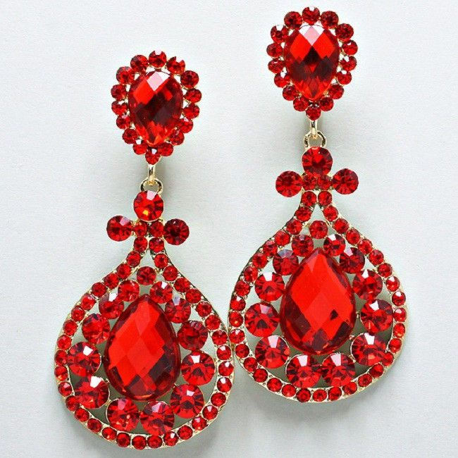 Red Crystal Chandelier Rhinestone Clip On Bridal Drag Queen Pageant Earring Pr