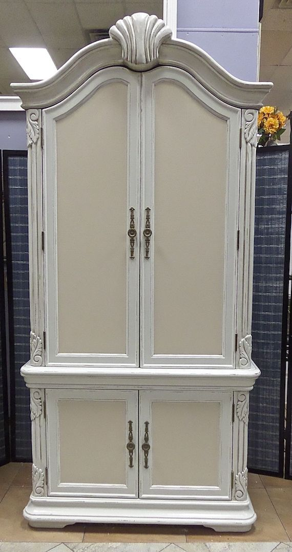 2 Piece Distressed Armoire Tuscan Style Two Tone