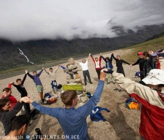 Celebrating arrival at the Arctic Circle