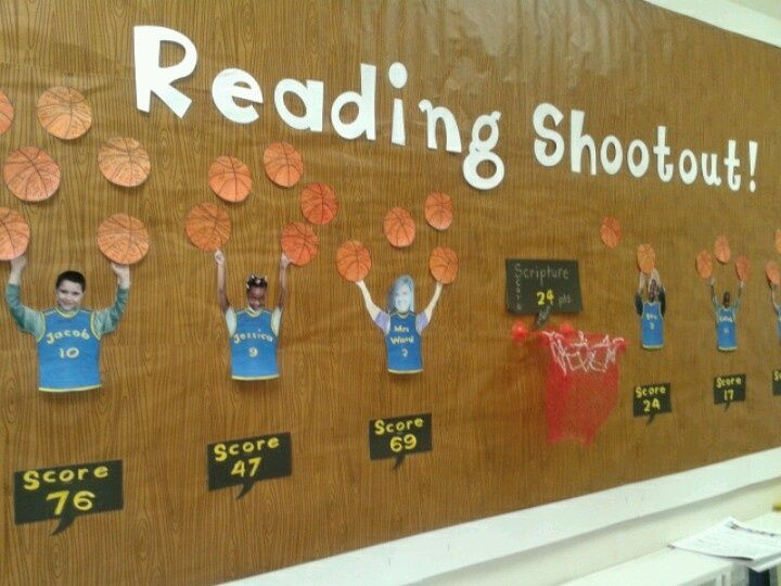 march madness school bulletin board ideas | Reading board for March Madness month.
