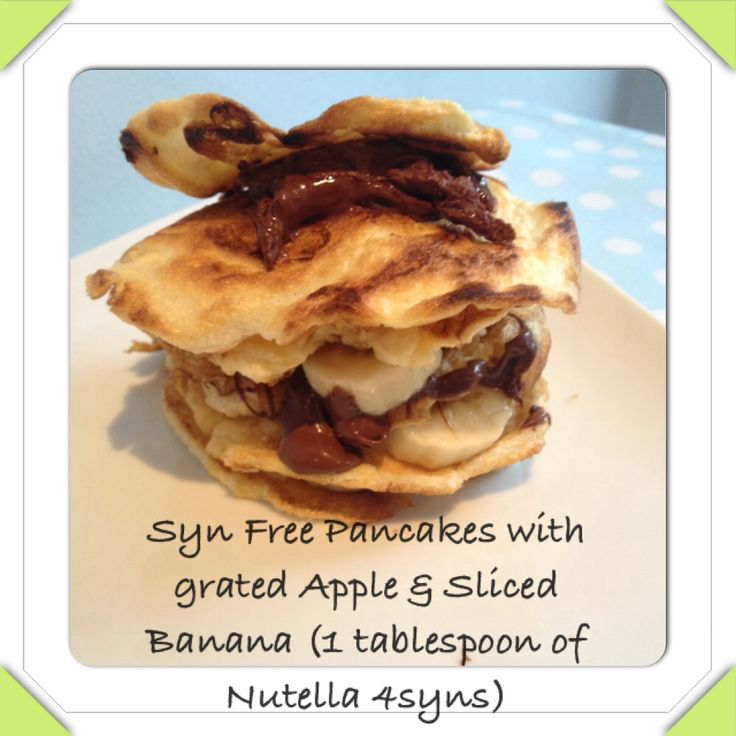 Slimming World Syn Free Pancakes with banana and grated apple (Nutella 4syns for 1 tablespoon)