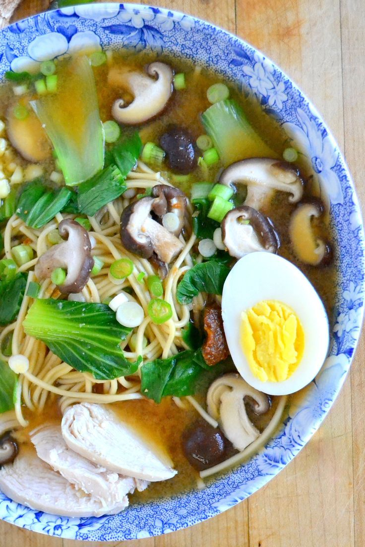 Miso Ramen with Shitake and Chicken #ramen #shitake #soup
