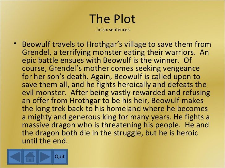 a short summary of the story beowulf A short plot synopsis of beowulf - and a critical analysis what happens in  beowulf, the  beowulf is a classic 'overcoming the monster' story.