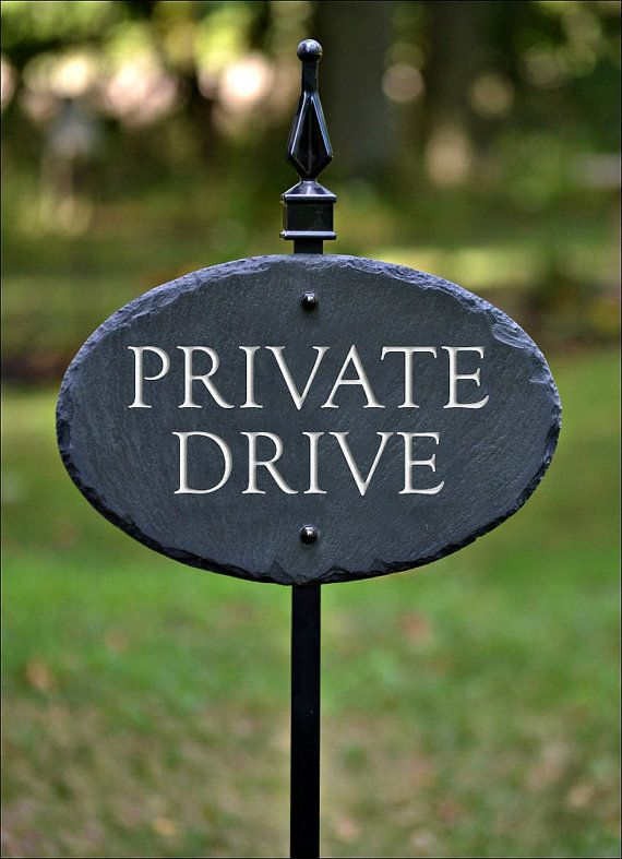 CARVED PRIVATE DRIVE Plaque with Lawn Stake. High quality carved Black Slate. Natural, tasteful , High contrast.  Also Available : ( Select in Drop-Down Menu ) (Custom - made) - NO SOLICITING / WHITE LETTERING ( Standard) or GOLD (Custom - made) - NO TRESPASSING / WHITE LETTERING ( Standard) or GOLD (Custom - made) - BEWARE of DOG / WHITE LETTERING ( Standard) or GOLD (Custom - made) - PRIVATE PROPERTY / WHITE LETTERING ( Standard) or GOLD  DESCRIPTION : This Slate plaque ...