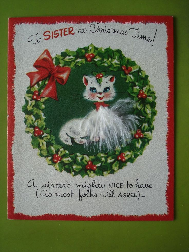 Vtg Unused Gibson Christmas Card-For Sister-Cute Kitten W/Feather Fur In Wreath FOR SALE • $4.99 • See Photos! Money Back Guarantee. This is a great unused vintageGibson Christmas card, for a Sister, featuring a cute kitten with feather fur inside of a Christmas wreath. Excellent unused condition. No envelope. Card measures 391827239953
