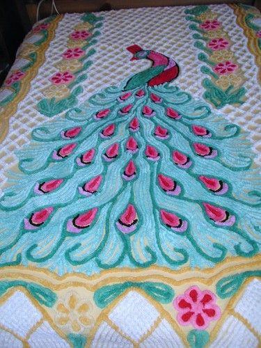 Vintage Chenille Single Peacock Bedspread