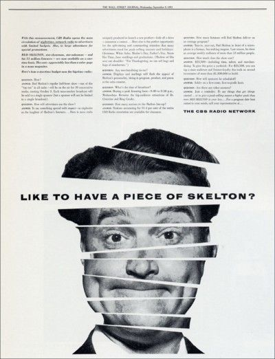 1951 newspaper ad for the Red Skelton radio show designed by Lou Dorfsman