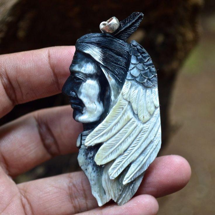 "Hand Carved Indian Spirit 2.8"" Buffalo Horn Carving Pendant 925 Silver BH3361 #Handmade #Pendant"