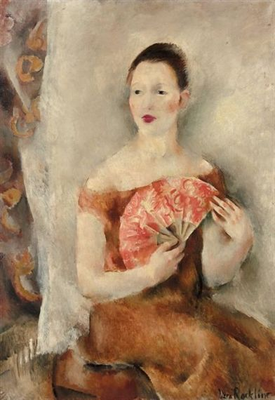 Artwork by Vera Rockline, JEUNE FEMME A L' EVENTAIL ROUGE, Made of oil on canvas