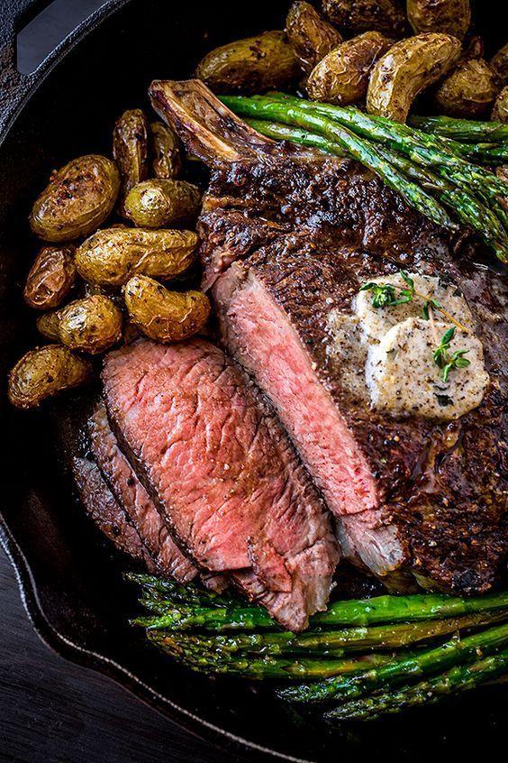 Pepper-Crusted Cowboy Rib Eye Steak