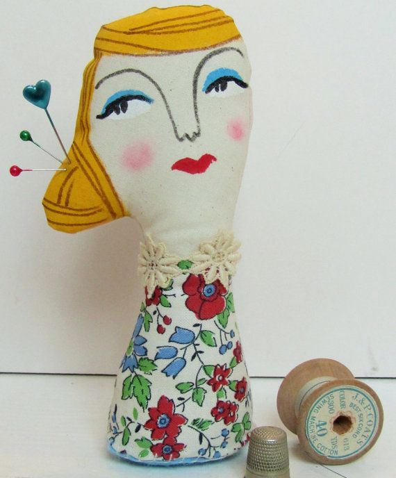 Mother Doll Pin Cushion Soft Sculpture