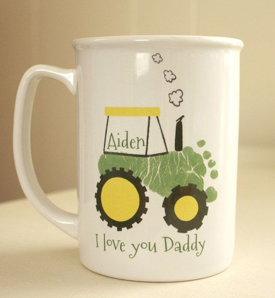 Your child's footprints! Perfect Grandpa and Daddy christmas gift, baby footprint art, baby first christmas, Tractor Footprint Mug 102_mug