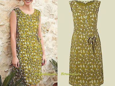 WHITE STUFF LIME GREEN YELLOW FLORAL BUD BELTED VINTAGE TEA DRESS SIZE 10 NEW