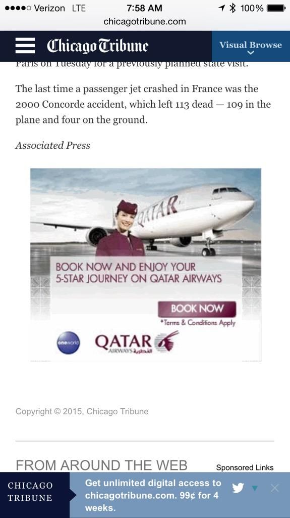 "Jack Epstein on Twitter: ""An ad for Qatar Airlines at the end of the @chicagotribune article about the plane crash today in France - huh? http://t.co/bP7GIhiqCb"""