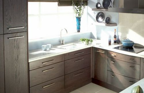 Open shelving near window lets in more light than cabinets