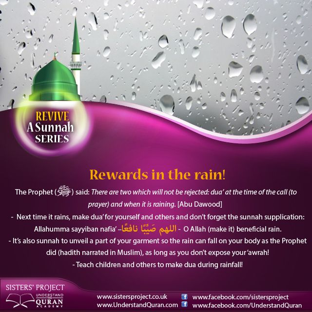 What do you do when it rains? Look for an umbrella? Complain? Seek cover? It's time to learn about the rewards of supplicating in the rain! Here are three sunan to revive: 1. Ask for benefits. It is narrated on the authority of Aisha (radiyAllahu anha) that when the Messenger of Allah (salallahu 'alayhi wasallam) saw rain he would …