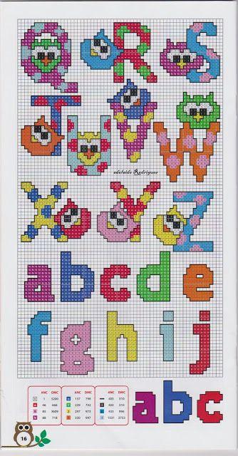 Alphabet perler bead pattern (Q-Z / a-j)