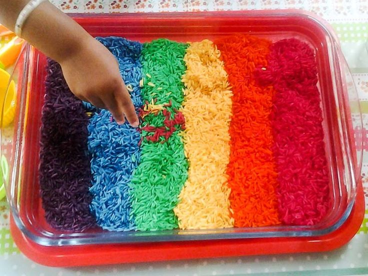 make and play with homemade colored rainbow rice