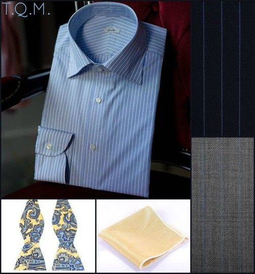SHIRT/TIE COMBO: Spalla(Shirt)-Unknown(Bowtie)-Rujia(Pocket Square)-Suggested Suit Colors(Blue Pinstripe & Gray w/Blue Stripes)-Suit Colors On Right Side.
