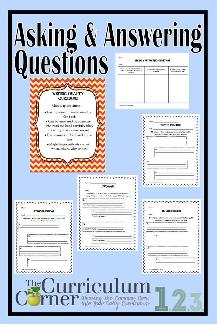 Anchor chart and graphic organizers addressing CCSS.ELA-LITERACY.RI.2.1 & CCSS.ELA-LITERACY.RI.3.1 | Helping students ask & answer questions | Free | The Curriculum Corner