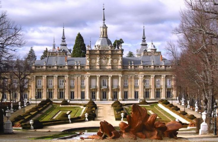 La Granja de San Ildefonso in the town of San Ildefonso (Segovia), eighty km north of Madrid, is the site of the baroque palace set in gardens in the French manner and sculptural fountains, that was built for Philip V of Spain.