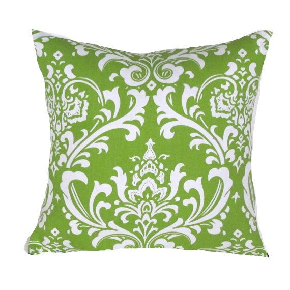 green pillow cover green u0026 white damask accent by