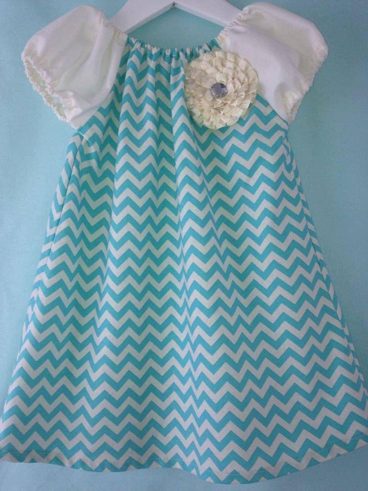 Really cute Aqua Ruffle Flower Chevron Dress by PrettyBabyThings, $39.95