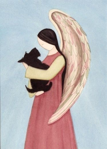 Scottish Terrier (scottie) held by angel / Lynch signed folk art print