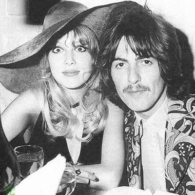 May 22nd 1968, Pattie & husband George celebrate the launch of the Apple tailoring shop at Arethusa, a restaurant on King's Road. image source: blogspot