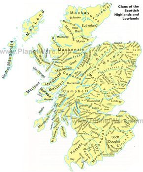 Scottish clan   Map of Clans of the Scottish Highlands and Lowlands   PlanetWare - Look for the Murray Clan