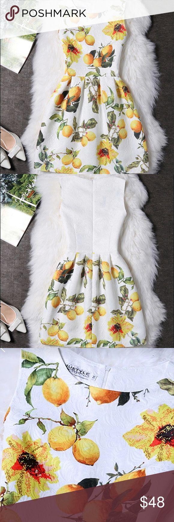 "Vintage, rockabilly style summer dress 🍋🌻 Floral and lemon print , A line , O neck ,Polyester, Nylon, Linen , Jacquard. Approx bust : 36.2"", shoulder 14.6"", waist 29.1 , length 32.7"" justyle Dresses"