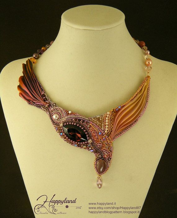 Purple Finch embroidery necklace with Shibori by Happyland87