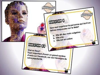 Ce document contient : - 24 questions concernant la netiquette; - Une fiche de suivi ; - Un corrigé.  Vous pouvez utiliser ces cartes de différentes manières : - Cartes à tâches (travail autonome) ; - Questions « éclair » ; - Démarrer une discussion éthique relative aux différents enjeux de la netiquette et de l'éthique en ligne.  Lien avec la progression des apprentissages : Des exigences de la vie en société.