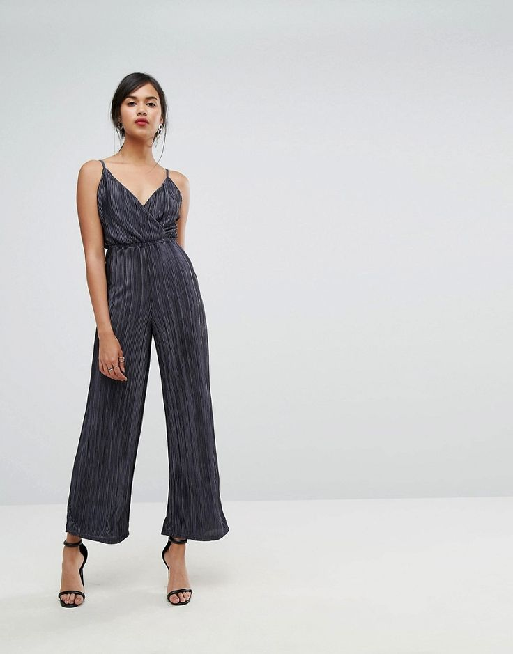 Ivyrevel Metallic Pleated Strappy Wide Leg Jumpsuit - Navy: Jumpsuit by  Ivyrevel, Textured plisse fabric, V-neck, Wrap front, Elasticated waist. ...