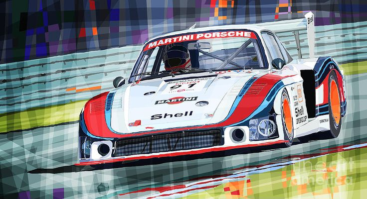 Porsche 935 Coupe Moby Dick Martini Racing Team Drawing