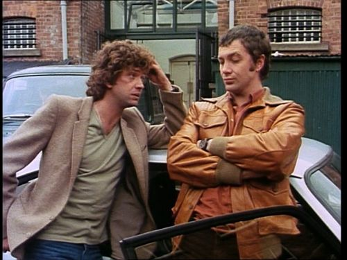 doyle's outfit is a desaturated version of the green/rust background scenery, and bodie's outfit is a SATurated version of it. (also, conveniently placed cars keep doyle's BEIGE jacket from ever matching up against the brick wall behind him.) also,...