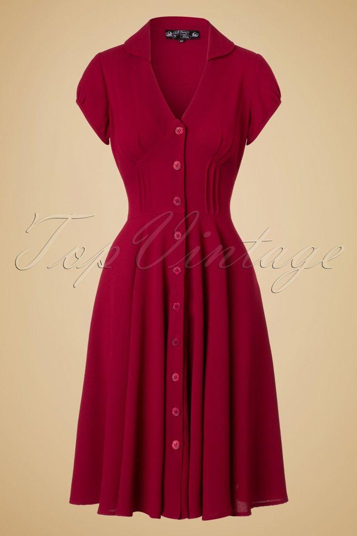 40s Keely Swing Dress in Red