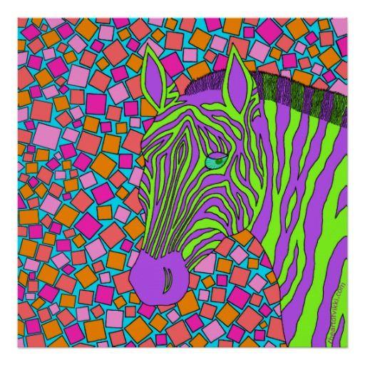 Tropische Zebra-Kunst mit Streifen. Klicken Sie BESONDERS ANFERTIGEN DIESER Knopf an, um dieses mit Ihrem Namen, Initialen oder einer Spaßmitteilung zu personifizieren. Dieser lila und grüne Zebra mit einem bunten Mosaikhintergrund mischt nie herein mit seinen Schwarzweiss-Cousins. Andererseits warum würde er zu wollen? Seien Sie einzigartig. Ich genieße, bunte wild lebende Tiere herzustellen, weil sie mich lächeln lassen. Ich hoffe, dass Sie sie auch mögen.