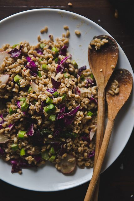 Farro  asparagus salad with sesame-miso dressing. by Two Red Bowls