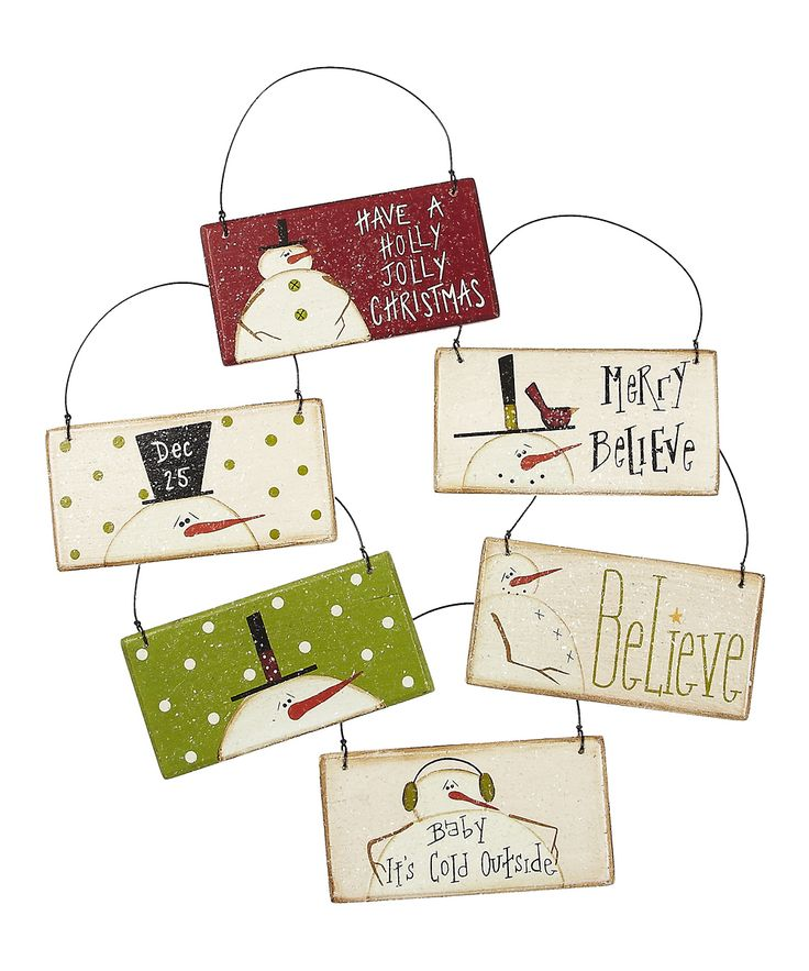 Holly Jolly Snowman Sign Ornament Set | zulily
