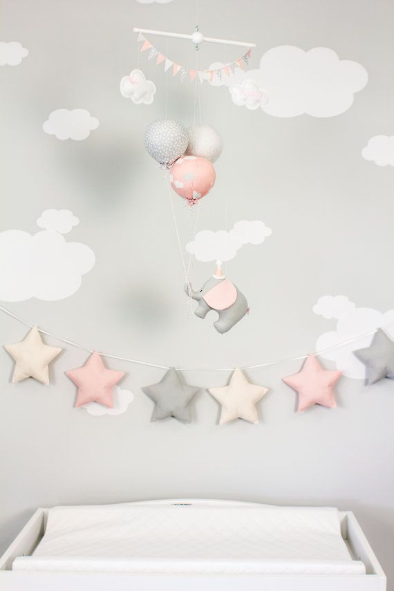 PInk Elephant Baby Mobile, Girls Nursery Decor, Pink and Grey Balloon Mobile, Travel Theme Nursery Decor, i220