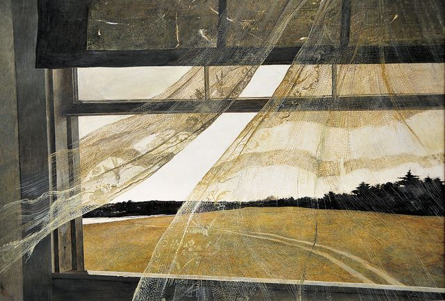 Wind from the Sea ~ Andrew Wyeth c.1947. Tempera on hardboard, *amazing* detail in the lace curtains. . . . . ღTrish W ~ http://www.pinterest.com/trishw/ . . . . #art #painting #myt