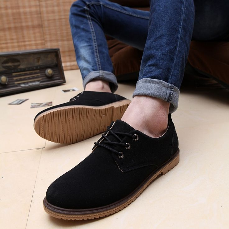 19.56$  Buy here - High Quality Spring autumn male shoes Suede Leather Flats Fashion Men Lace-up Casual Loafers Business Shoes   #magazineonlinewebsite