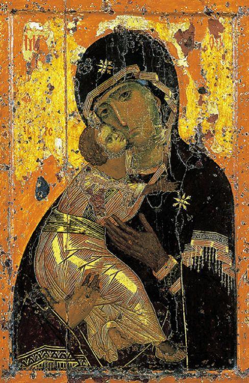 cavetocanvas: Virgen de Vladimir - Icono de Constantinopla, c.  11mo-12mo siglo.