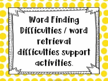 This is a pack of a few word maps and then four games to help children with word finding difficulties or word retrieval difficulties to 'file' words in their mind for later use. The games focus on children connecting words through rhyming words, starting sounds, categories and parts of items to ideas and words they already know.