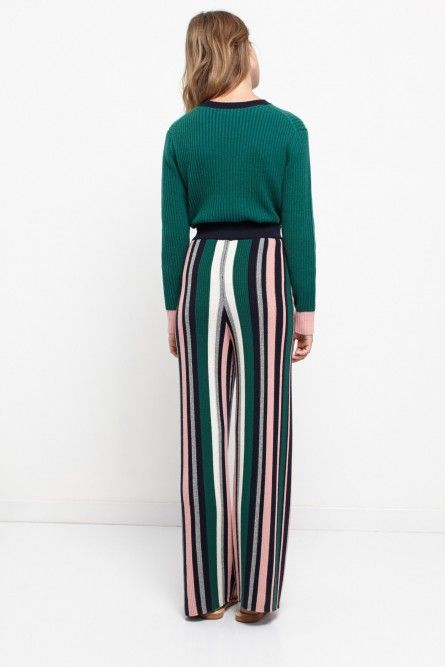 NEW Ribbed Striped Cashmere Wide-Leg Trousers